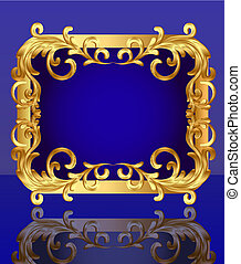 decorative frame with pattern gold
