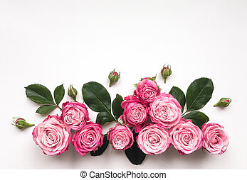 Decorative frame with pink bright roses on white background