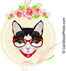 Decorative frame with pink roses and portrait of a funny cat with red glasses