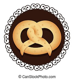 decorative frame with realistic picture pretzel baked product food icon