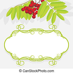 Decorative frame with rowan branch