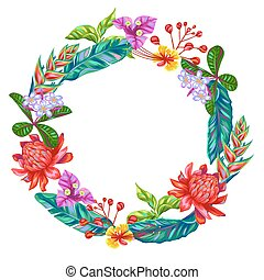 Decorative frame with Thailand flowers. Tropical multicolor plants, leaves and buds