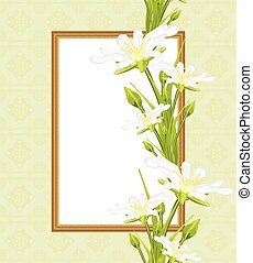Decorative frame with white flowers