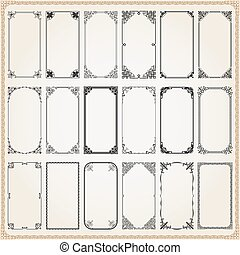 Decorative frames and borders rectangle 2x1 set 6