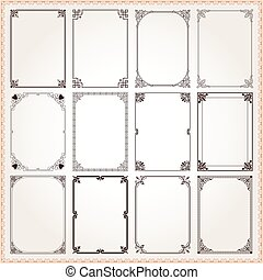 Decorative frames and borders rectangle proportions set 6