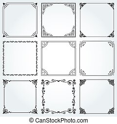 Decorative frames and borders square set 2 vector