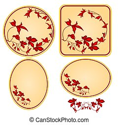 Decorative frames with red floral pattern vector