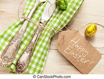 Decorative fresh spring Easter table setting