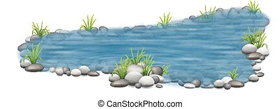 decorative garden pond - Realistic vector garden pond with...