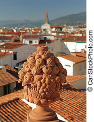 decorative garden vase made in tuscan terracotta on terrace...