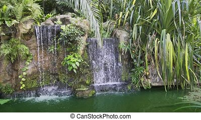 Decorative Garden Waterfall and Little Pond, with Sound -...