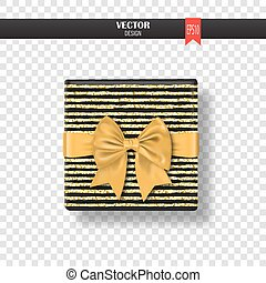 Decorative gift box with gold bow and ribbon. Vector illustration