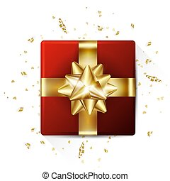 Decorative gift box with gold bow. Valentines day background with. Vector illustration. For flyers, invitation, posters, banners.