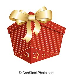 Gift Box with Golden Ribbon Bow