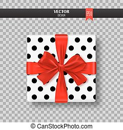 Decorative gift box with red bow and ribbon. Vector illustration.
