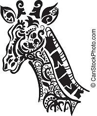 Decorative giraffe silhouette isolate on white background