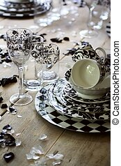 decorative glasses on table
