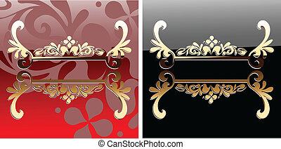 Decorative Glow Ornate Red And Black Banner. Vector Illustration.