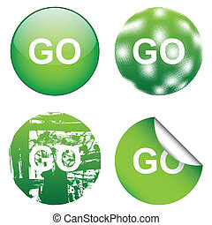 Decorative GO Signs - The GO sign in graphics styles grunge...