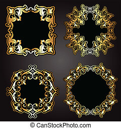 Decorative gold and black frames