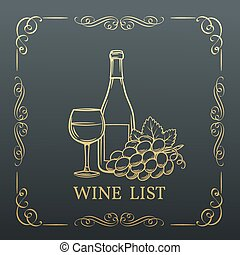 Decorative gold Banner Wine design .