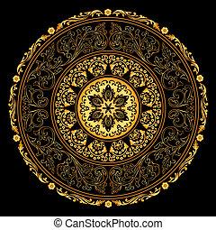 Decorative gold frame with vintage round patterns on black....
