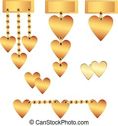Decorative gold hearts