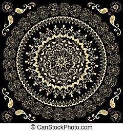 Decorative gold round frame
