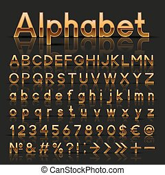 Decorative golden alphabet. Vector illustration