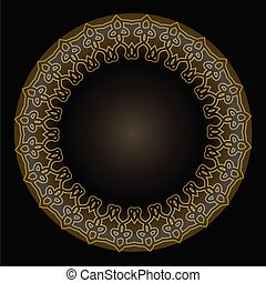 Decorative golden circle frame on black background. Vintage Vector Golden Banners Labels Frames. Calligraphic Design Element.