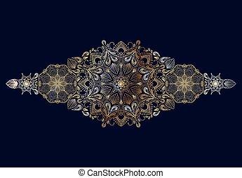 Decorative golden floral mandala border element on blue background