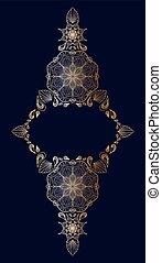 Decorative golden floral mandala frame element on blue background