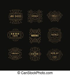 Decorative golden logo set in vintage style. Elegant retro emblems in geometric shape. Linear vector for business card, fashion boutique, party or wedding invitation