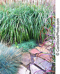 Decorative grass and stone path in the garden