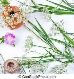 decorative grass flower cornflower and rope twine on white background with copy space, top view flat lay