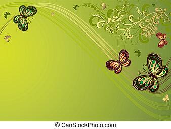 Decorative green floral frame
