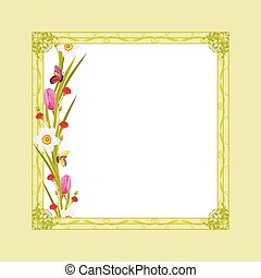 Decorative green frame with flowers - Decorative green frame...