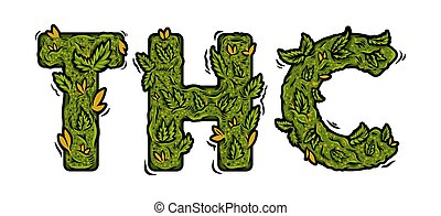 """lettering design weed inscription """"THC"""" - Decorative green ..."""