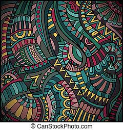 ethnic vector pattern - Decorative green ornamental ethnic ...
