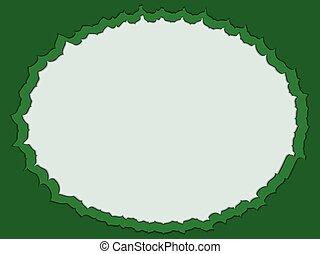 decorative green oval frame