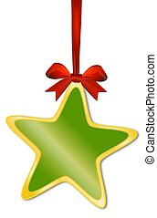 Decorative green star with red bow