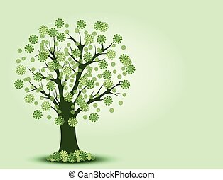 Decorative green tree silhouette