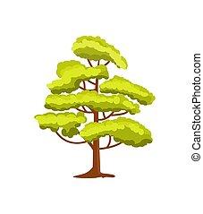 Decorative green tree vector icon