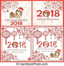 Decorative greeting card collection with puppy of shi tsu and Yorkshire terrier for Chinese New year 2018