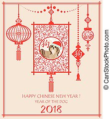 Decorative greeting card for Chinese New year 2018 with hanging Chinese lantern, puppy shi tsu and hieroglyph