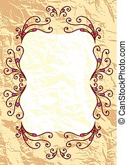 Decorative greeting frame on old paper background