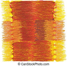 Decorative grunge striped mat with fringe in orange, yellow, red colors