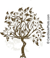 Decorative grunge tree, vector illustration