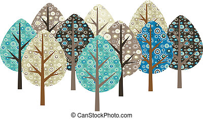Decorative trees with grunge patterns