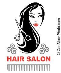 decorative hair salon icon with pretty girl